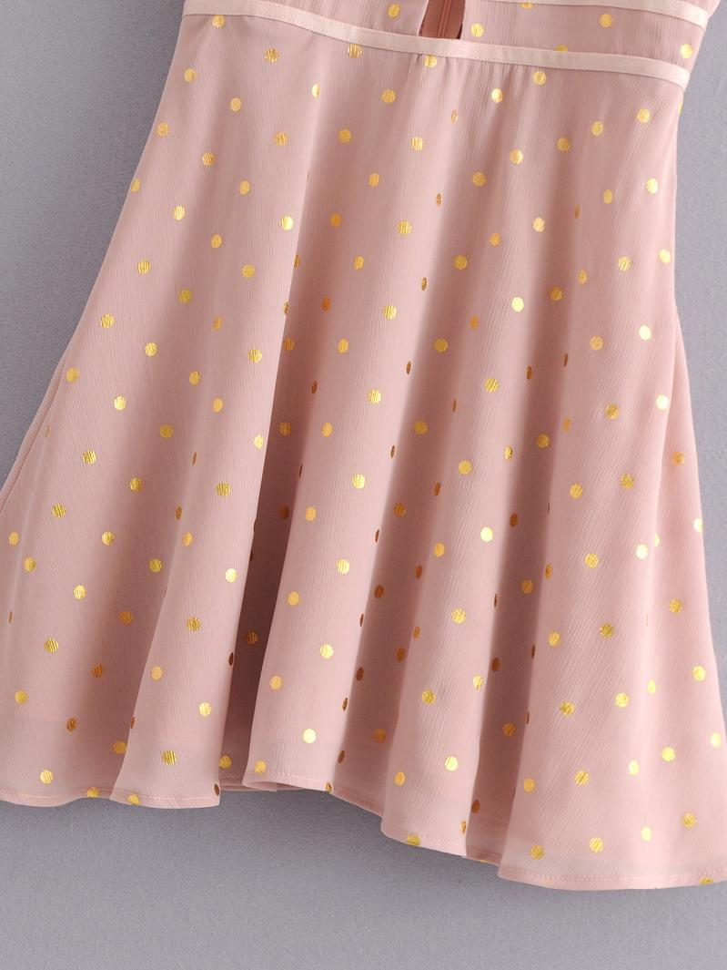 Goodnight Macaroon 'Hertha' Gold Foil Polka Dot Pink Mini Dress Skirt