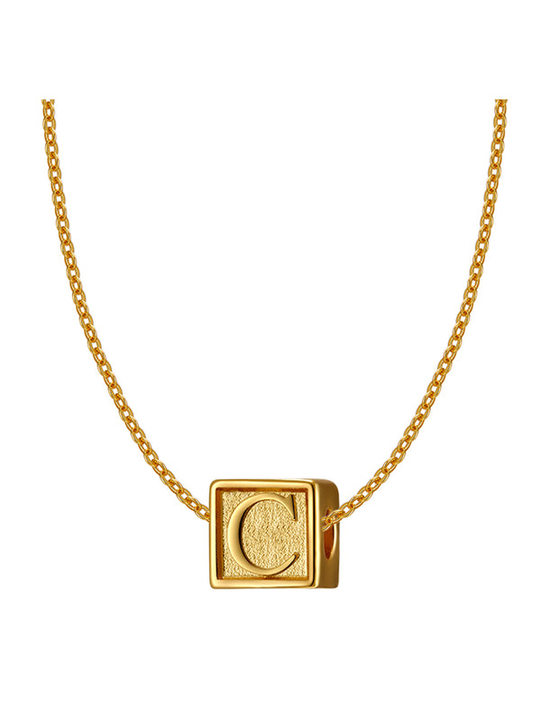 'Boonee' Gold Plated Letter Cube Necklace