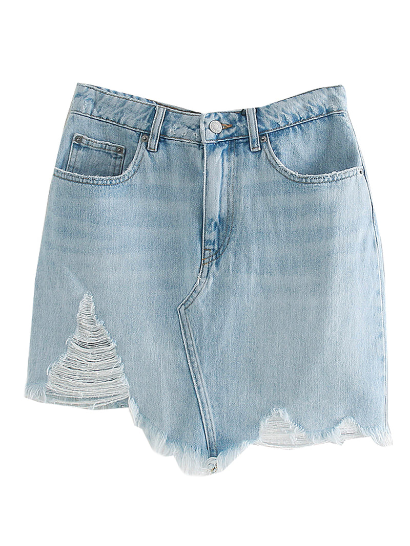 'Cathy' High-waisted Distressed Denim Skirt