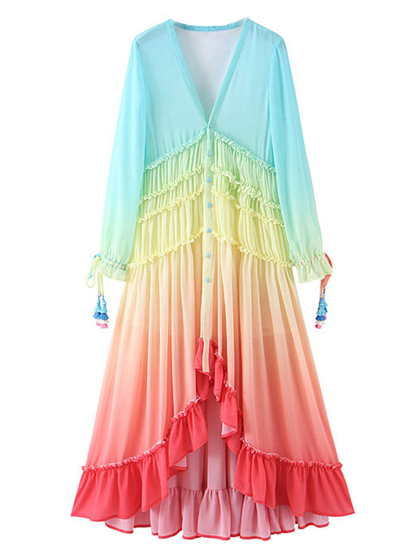 'Gloria' Rainbow Layered Ruffled Tassel Maxi Dress