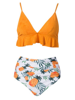 'Regene' Pineapple Pattern Ruffled Bikini