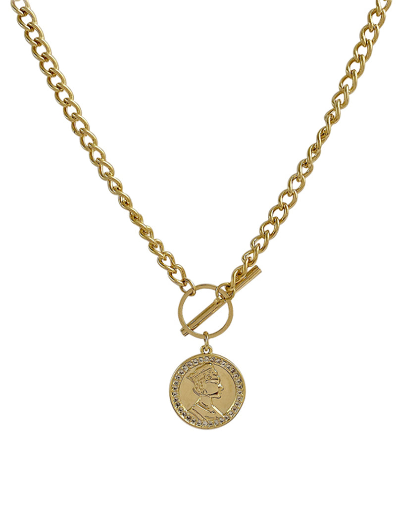 'Rio' Portrait Coin Chain Necklace