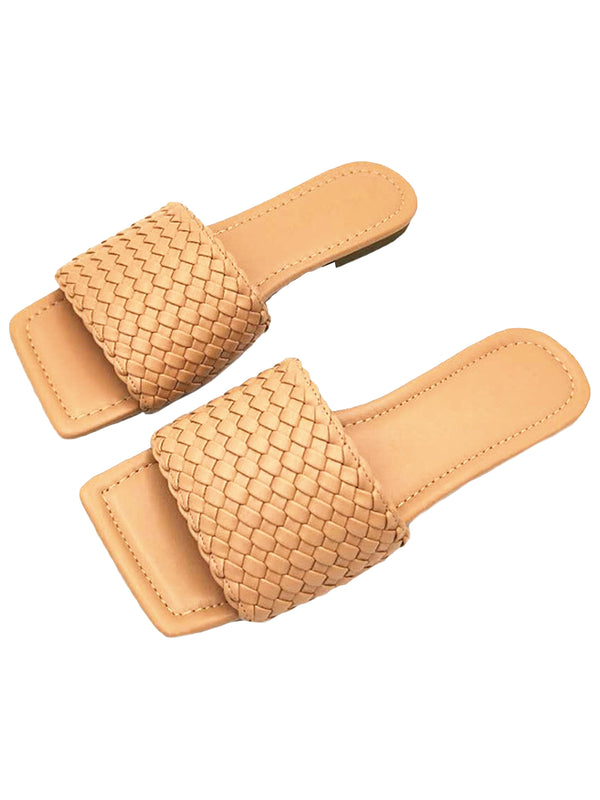 'Moma' Knitted Faux Leather Slides (2 Colors)