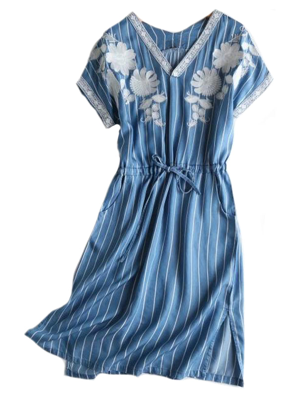 'Kary' Striped Chambray Embroiedered Dress (2 Colors)