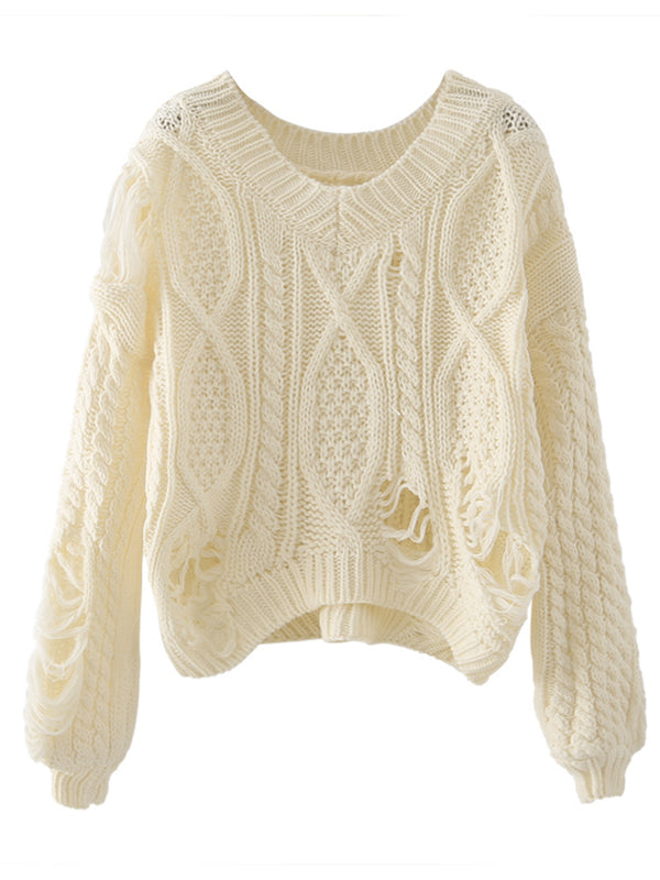 'Jude' Distressed V-neck Cable-knit Sweater (4 Colors)