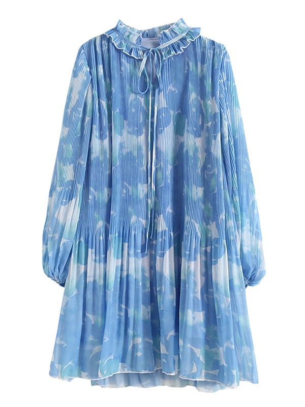 'Hayley' Floral Frilled Pleated Silky Dress