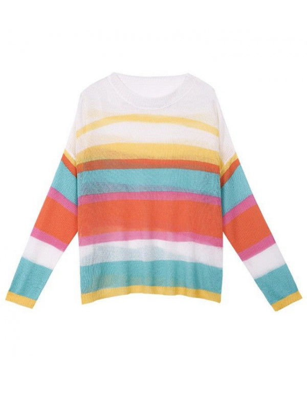 'Coco' Lightweight Rainbow Striped Knitted Top