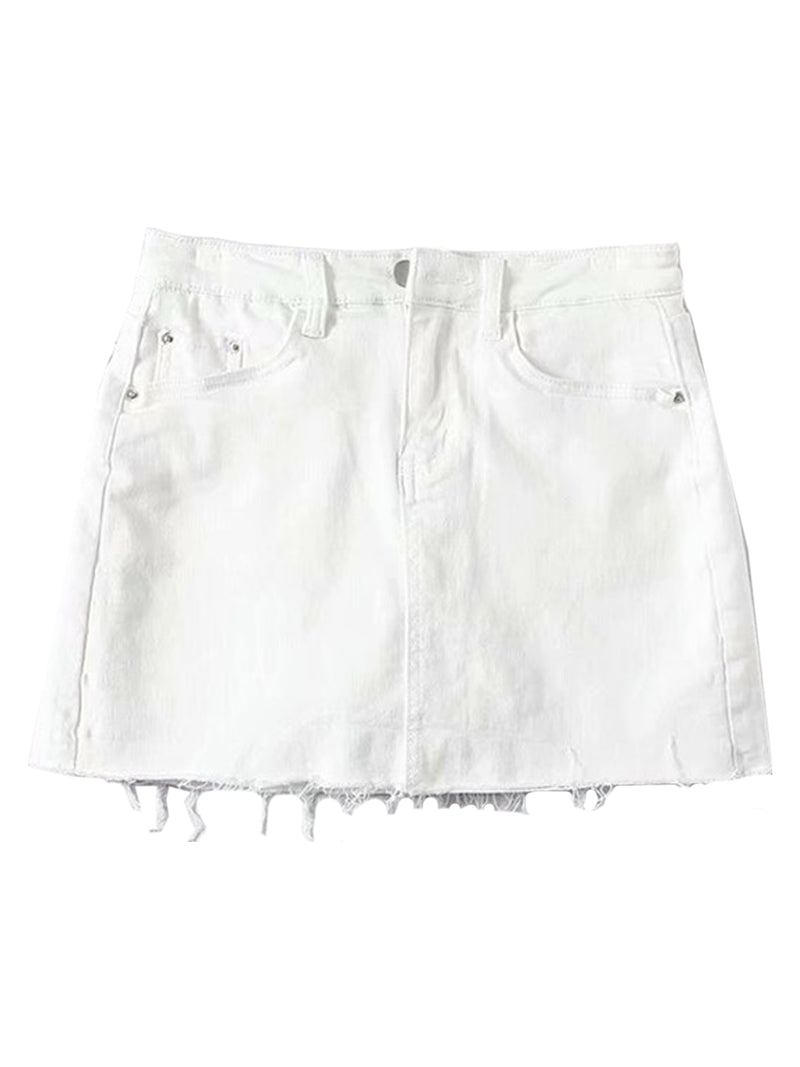'Janice' Raw Hem Denim Skorts (6 Colors)