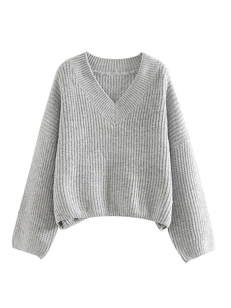 'Kathryn' V-neck Knitted Sweater (3 Colors)