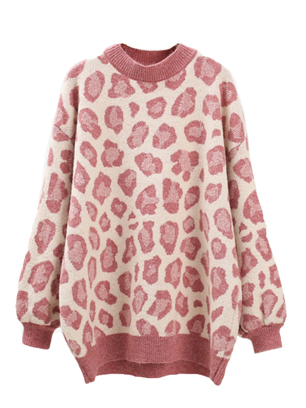 'Hillary' crewneck Leopard printed sweater (3 Colors)