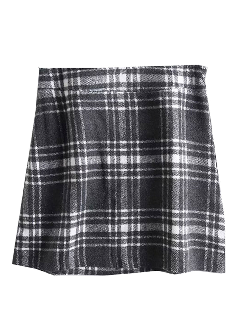 'Tanya' Checked Print Mini Skirt