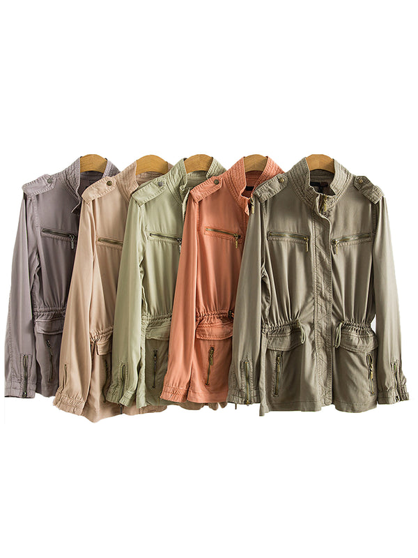 'Irene' Zip Cargo Jacket (5 Colors)