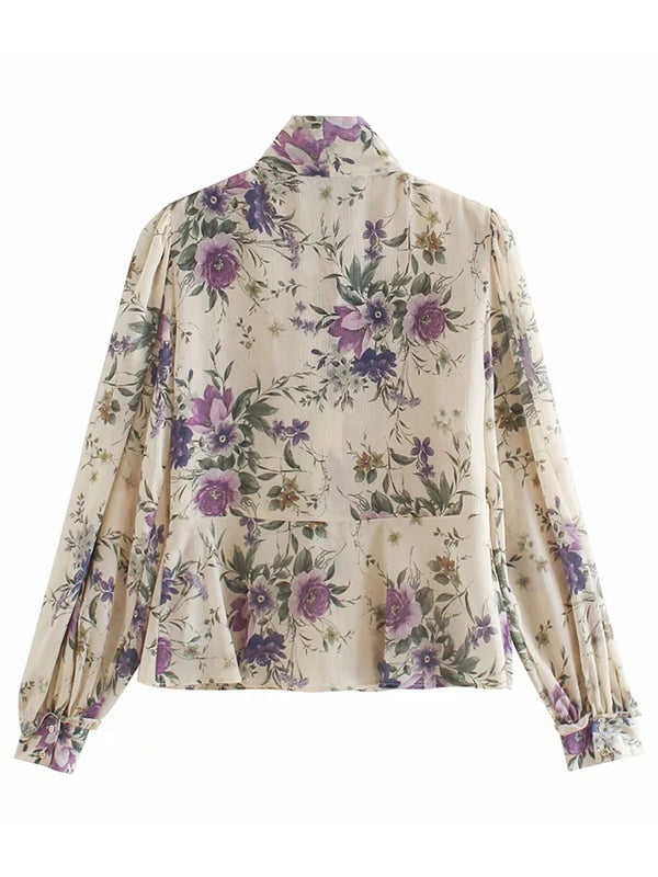 'Hollie' Floral Tied Neck Frilled Bouse