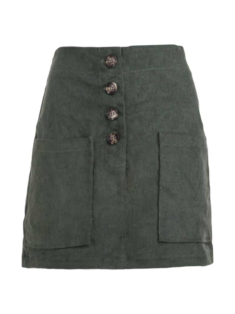 'Jessica' Corduroy High-waisted Buttoned Mini Skirt (3 Colors)