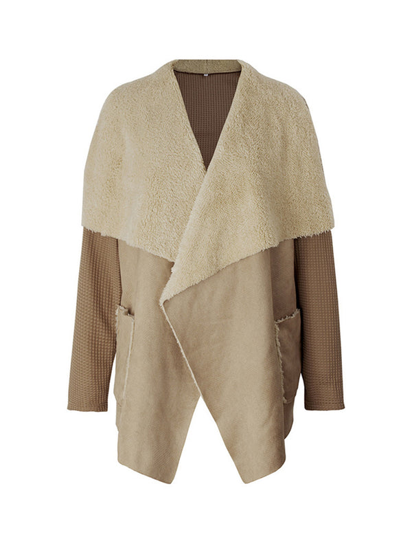'Franka' Wrap Fleece Faux Suede Jacket (2 Colors)