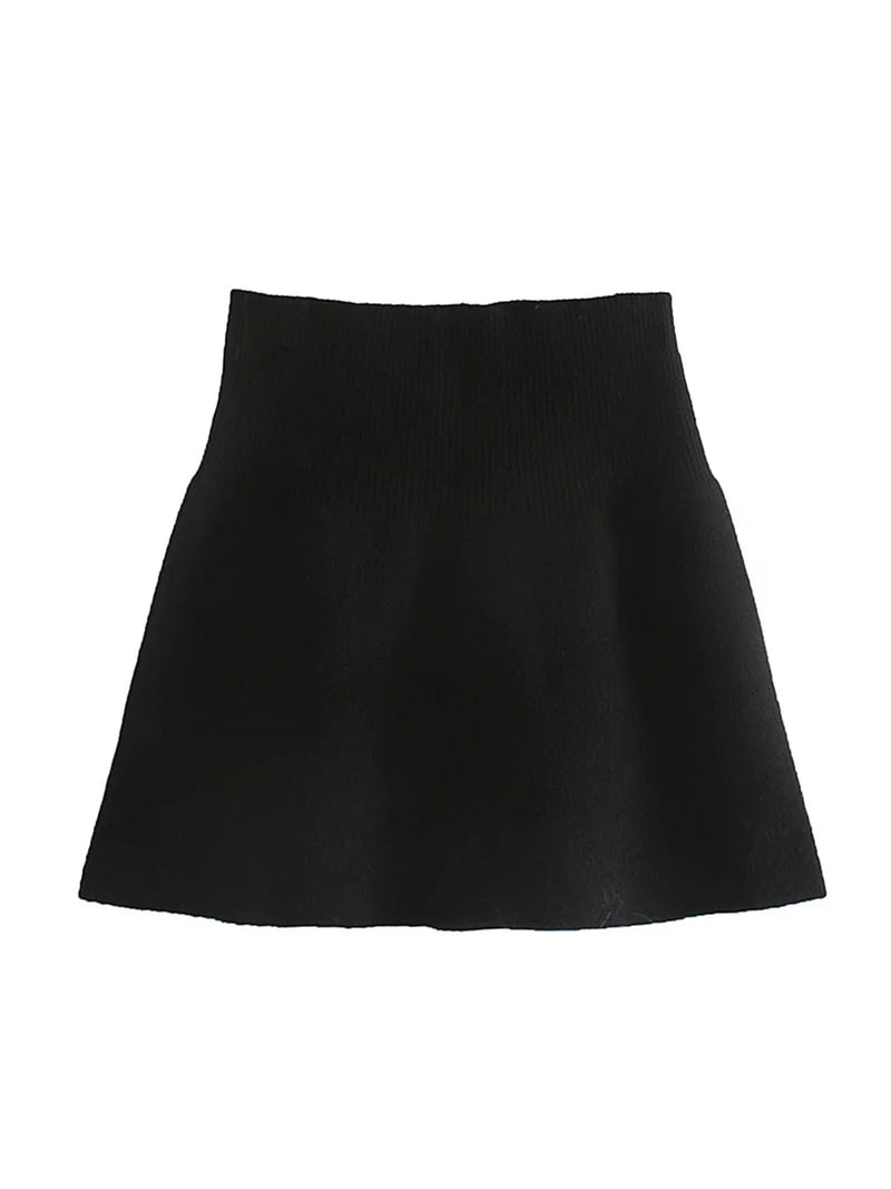 'Kitty' Knitted A-line Mini Skirt (2 Colors)
