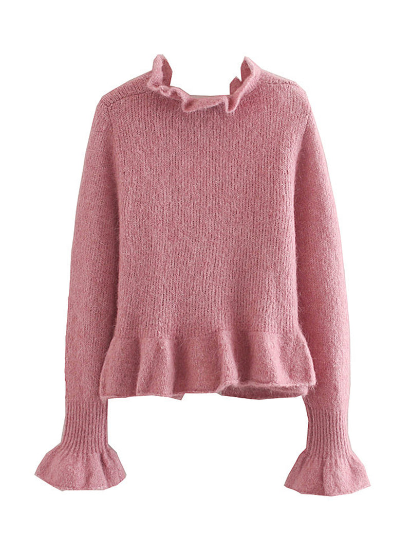 'Kelsey' Ruffled-neck Wool Sweater
