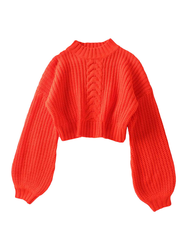 'Nicky' Cable-knit Cropped Sweater (3 Colors)