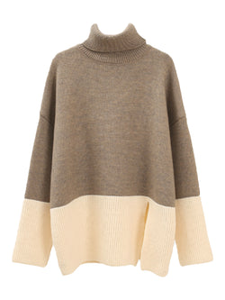 'Cara' Bicolor Roll Neck Sweater (3 Colors)