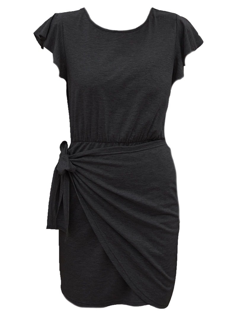 'Maddie' Ruffled Sleeves Wrap Tied Dress (3 Colors)