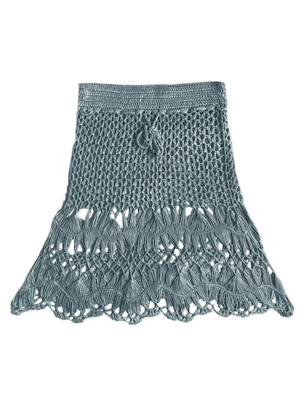 'Natalie' Tassels Knitted Cover-up Skirt (7 Photos)