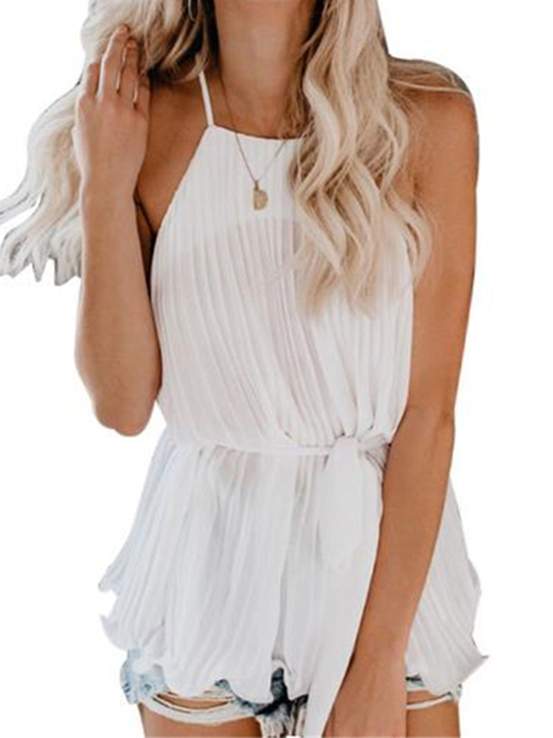 'Bubu' Halter-neck Pleated Belted Swing Top (3 Colors)