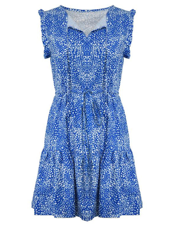 'Zenia' Spotted Pattern Frilled Dress (2 Colors)