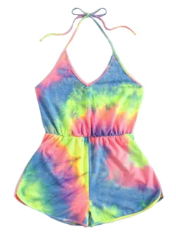'Marna' Drawstring Backless Tie Dye Romper (2 Colors)