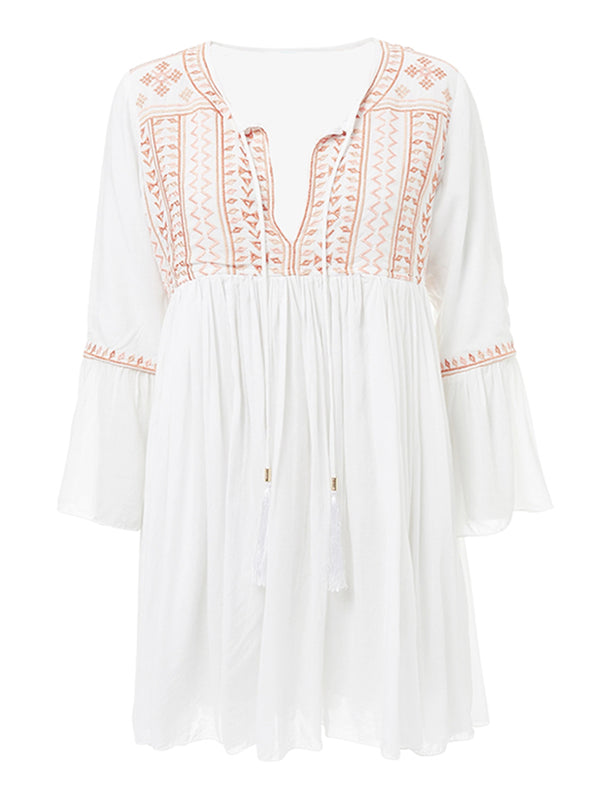 'Lala' Embroidered Tassels Dress