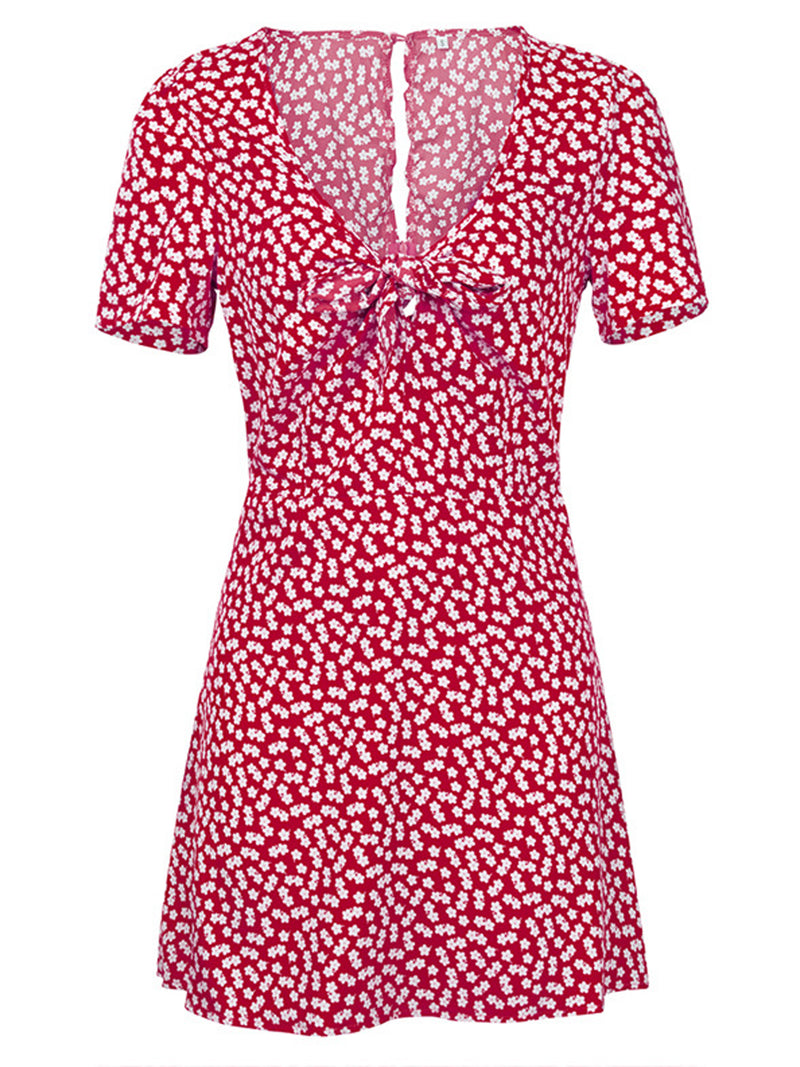 'Annie' Floral Pattern Tied Front Mini Dress (4 Colors)