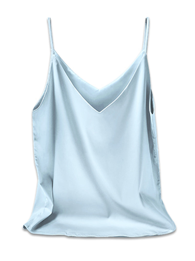'Mary' Essential V-neck Silk Camisole (8 Colors)