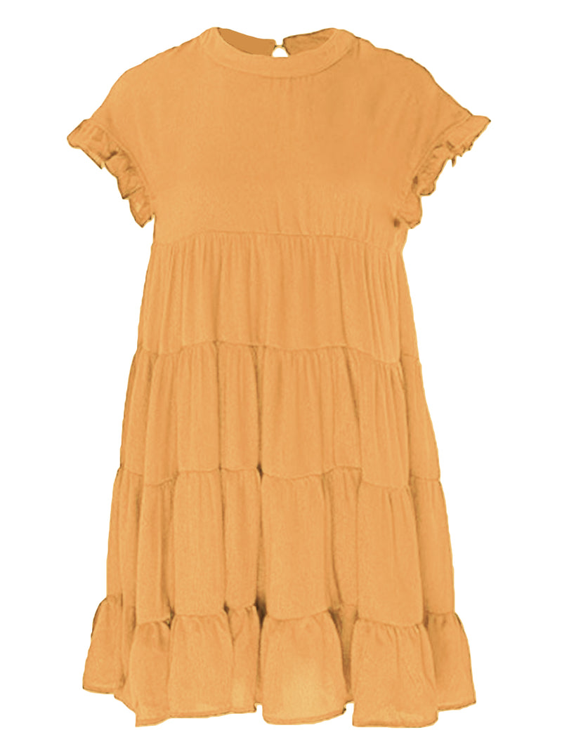 'Joey' Ruffled Sleeves Layered Dress (8 Colors)