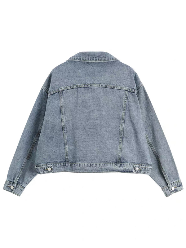 'Jackie' Light Wash Oversized Denim Jacket