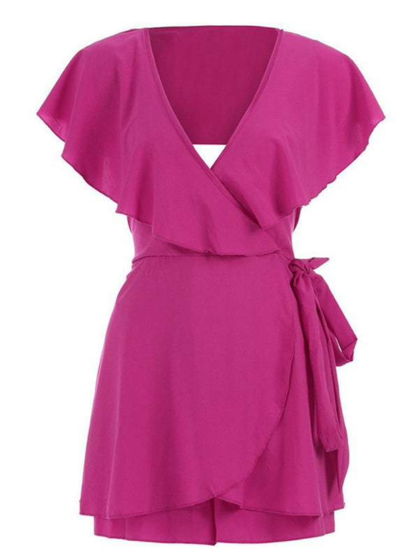 'Trudy' Cut-out Ruffle Wrap Tied Romper (4 Colors)
