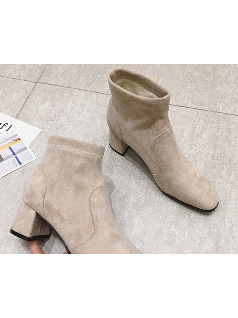 'Harris' Faux Suede Heeled Ankle Boots (2 Colors)