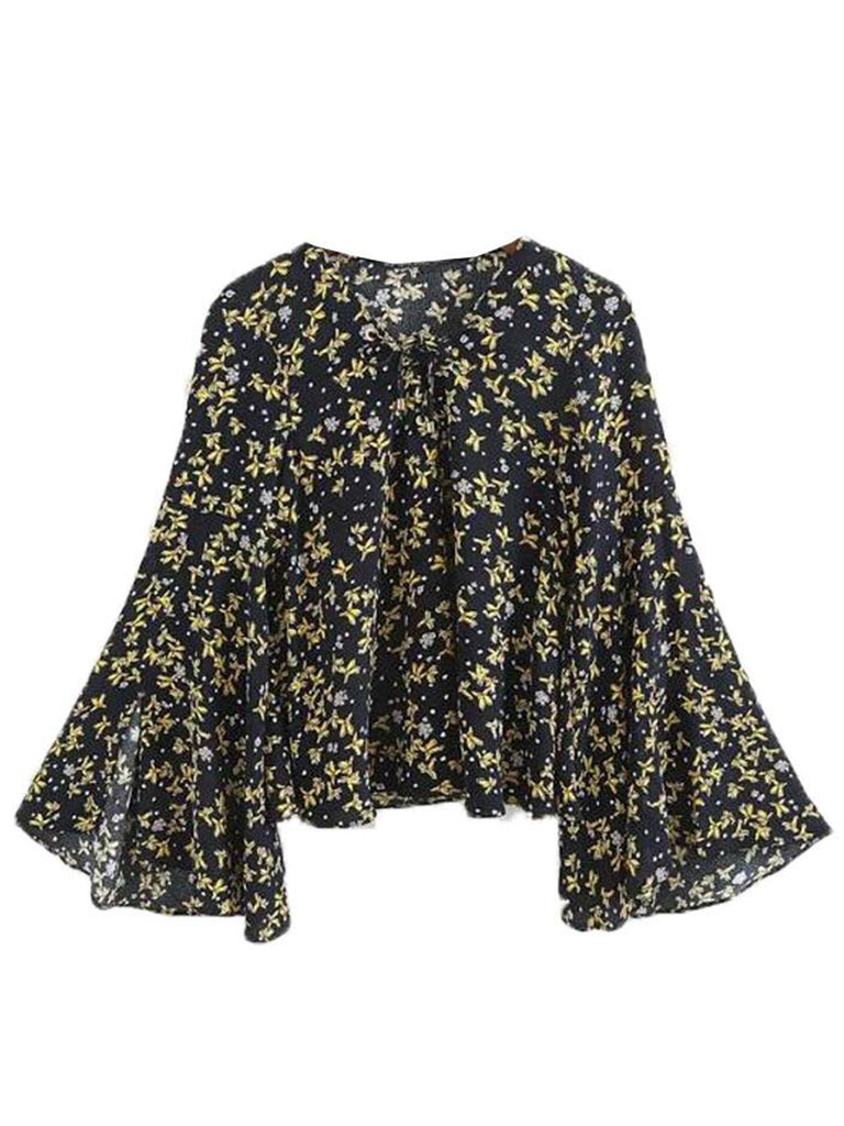 'Neoma' Navy Floral Flare Sleeve Blouse