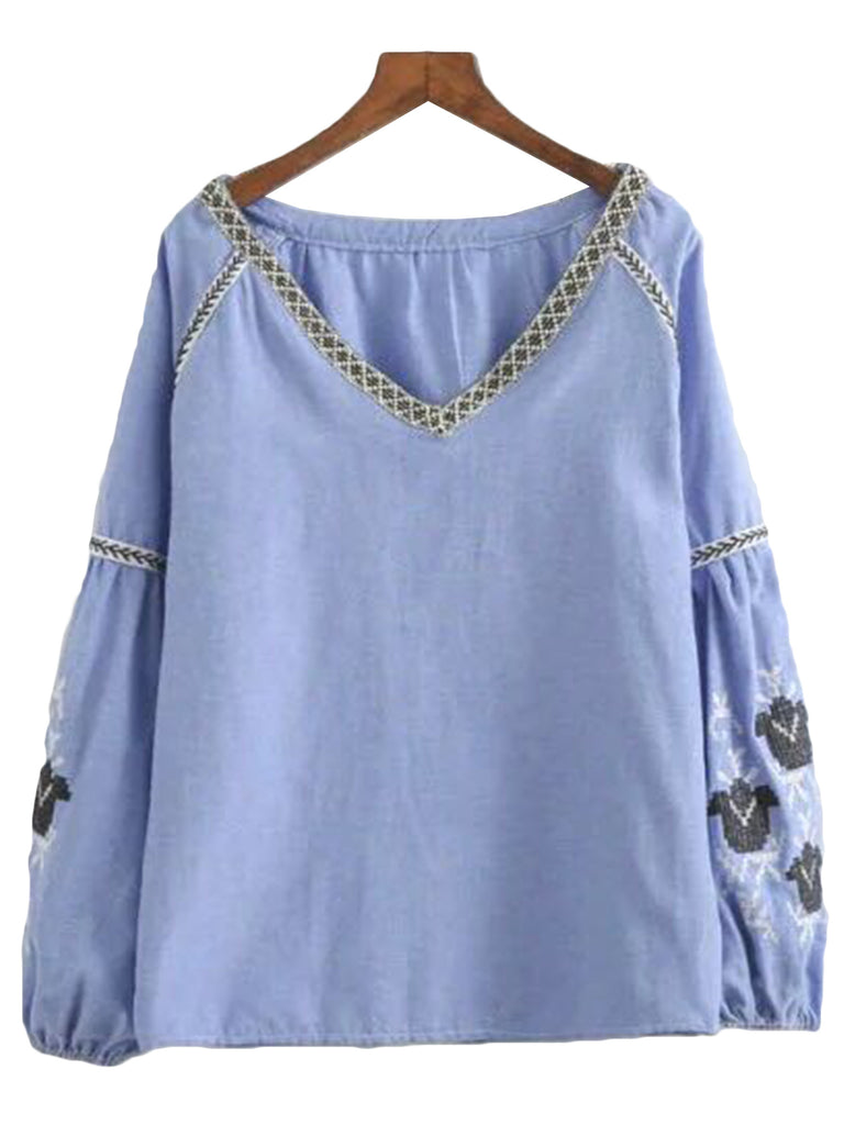 'Jacqulyn' Blue Embroidered V-neck Top
