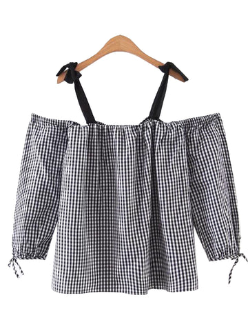 'Skye' Black Tied Off Gingham Shoulder Top