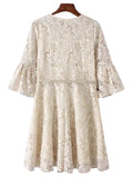 'Kiesha' Cream White Crochet Lace Dress