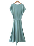 'Kiran' Emerald Sleeveless V-neck Flare Dress