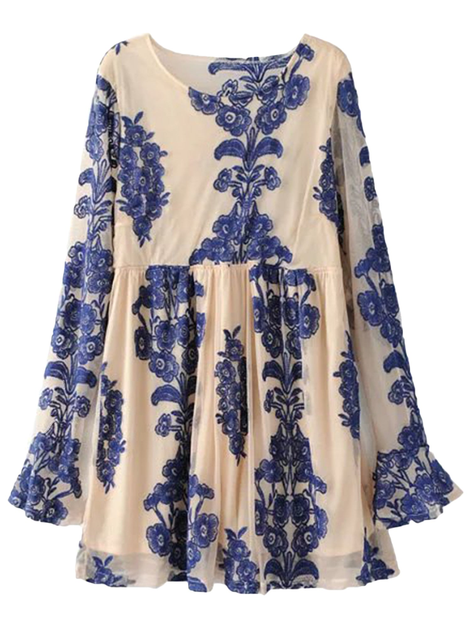 'Jin' Lace-up Floral Peplum Flare Dress