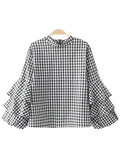 'Jacque' Ruffled Sleeve Checked Top