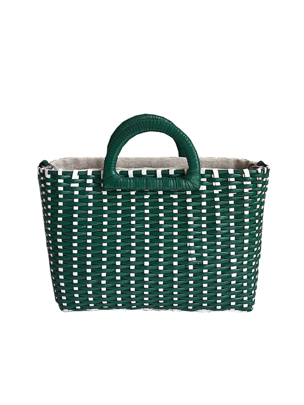 'Nichola' Seaweed Woven Rattan Two-way Handbag