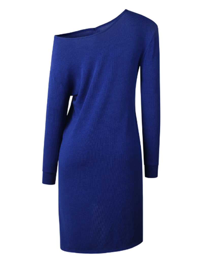 'Jenny' Cold Shoulder Long Sleeve Slit Dress (3 Colors)