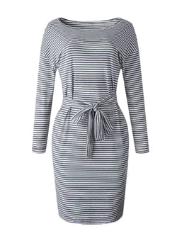 'Maggie' Thin Striped Long Sleeve Belted Dress (2 Colors)