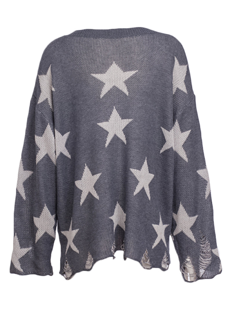 'Karly' Star Pattern Lightweight Distressed Sweater (3 Colors)