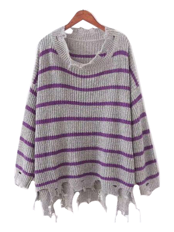 Goodnight Macaroon 'Penny' Distressed Striped Crewneck Sweater Grey and Purple Front