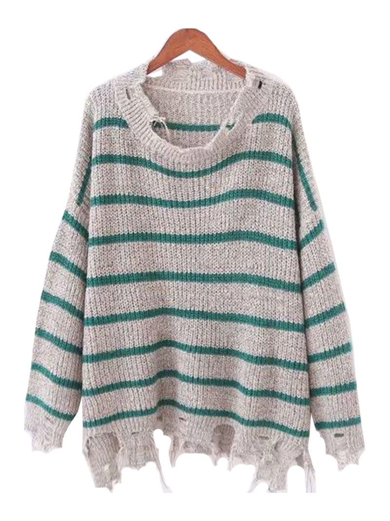 Goodnight Macaroon 'Penny' Distressed Striped Crewneck Sweater Grey and Green Front
