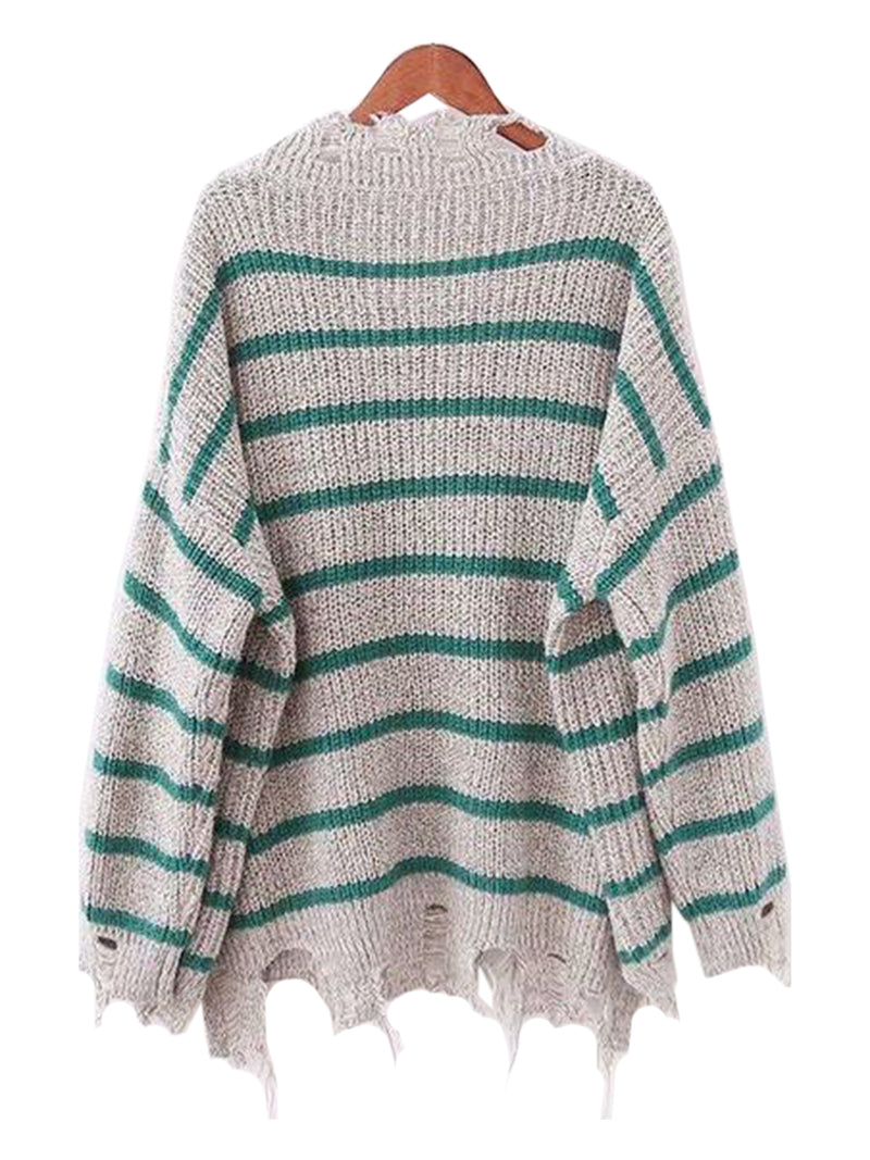 Goodnight Macaroon 'Penny' Distressed Striped Crewneck Sweater Grey and Green Back