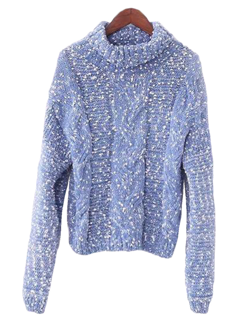 Goodnight Macaroon 'Snowy' Knitted Confetti Braided Turtleneck Sweater Blue Front